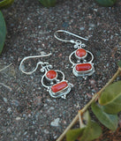 Sterling Silver and Coral Earrings