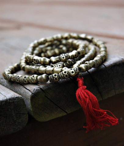 Hand Carved Metal Skull Mala
