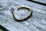 Brass and Black Bead Wrap Bracelet