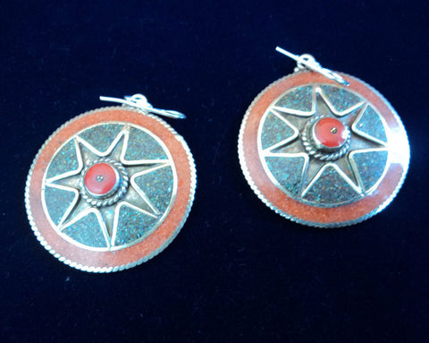 Traditional Tibetan Coral  Star Earring
