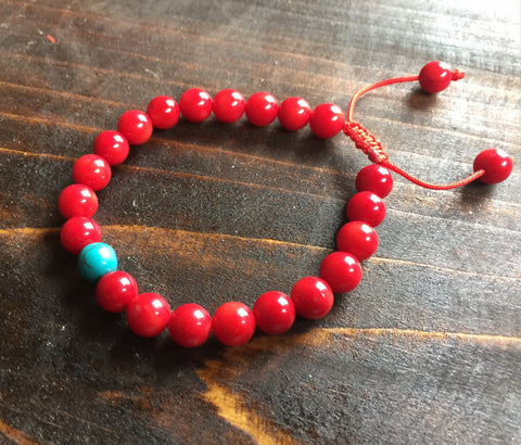 Coral With Turquoise Wrist Mala