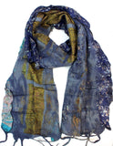 Multicolor Blue Silk and Wool Saree Scarf