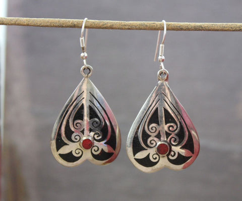 Tibetan Onyx Inlay Earrings