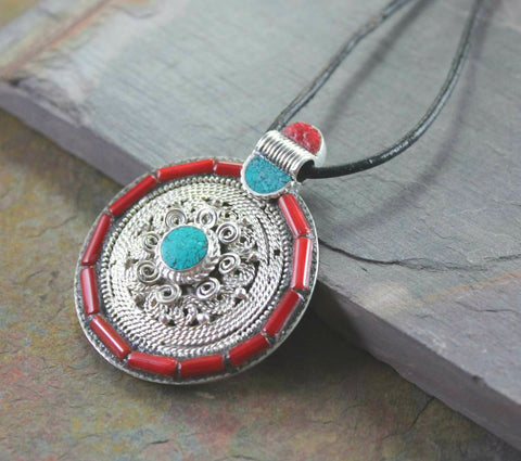 Large Turquoise and Sherpa Coral Pendant