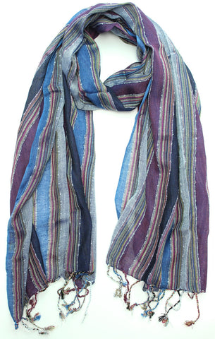 Blue and Purple Striped Woven Scarf
