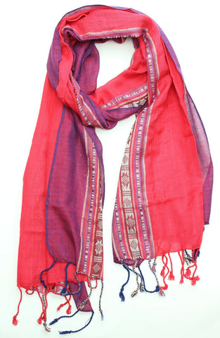 Red and Purple Striped Woven Scarf