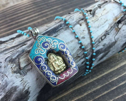 Turquoise Buddha Tibetan Altar Necklace
