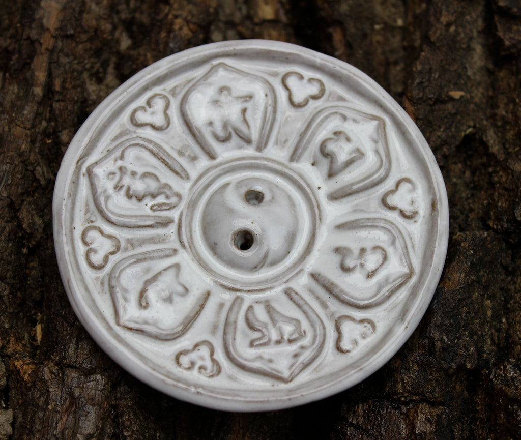 White Om Mani incense Burner
