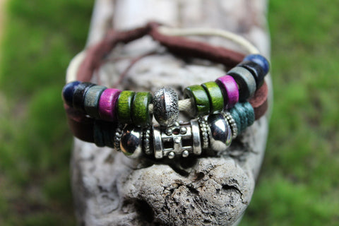 Leather and Dyed Wood Bracelet