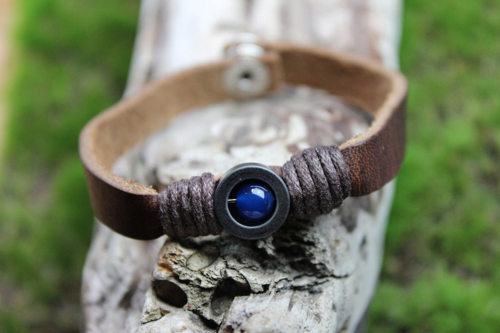 Leather and Blue Bead Bracelet