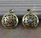 2 Sided Brass mandala Pendant