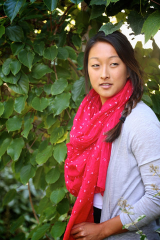 Raspberry Red Sheer Batik Cotton Scarf