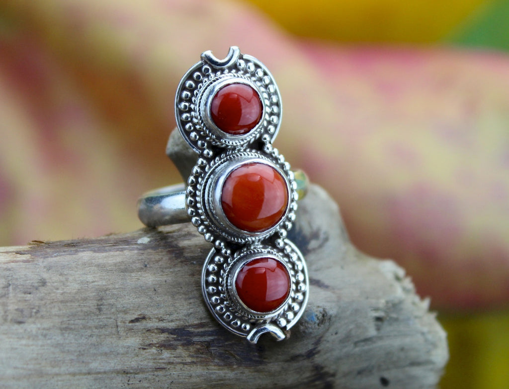 3 Stone Coral and Sterling Silver Ring