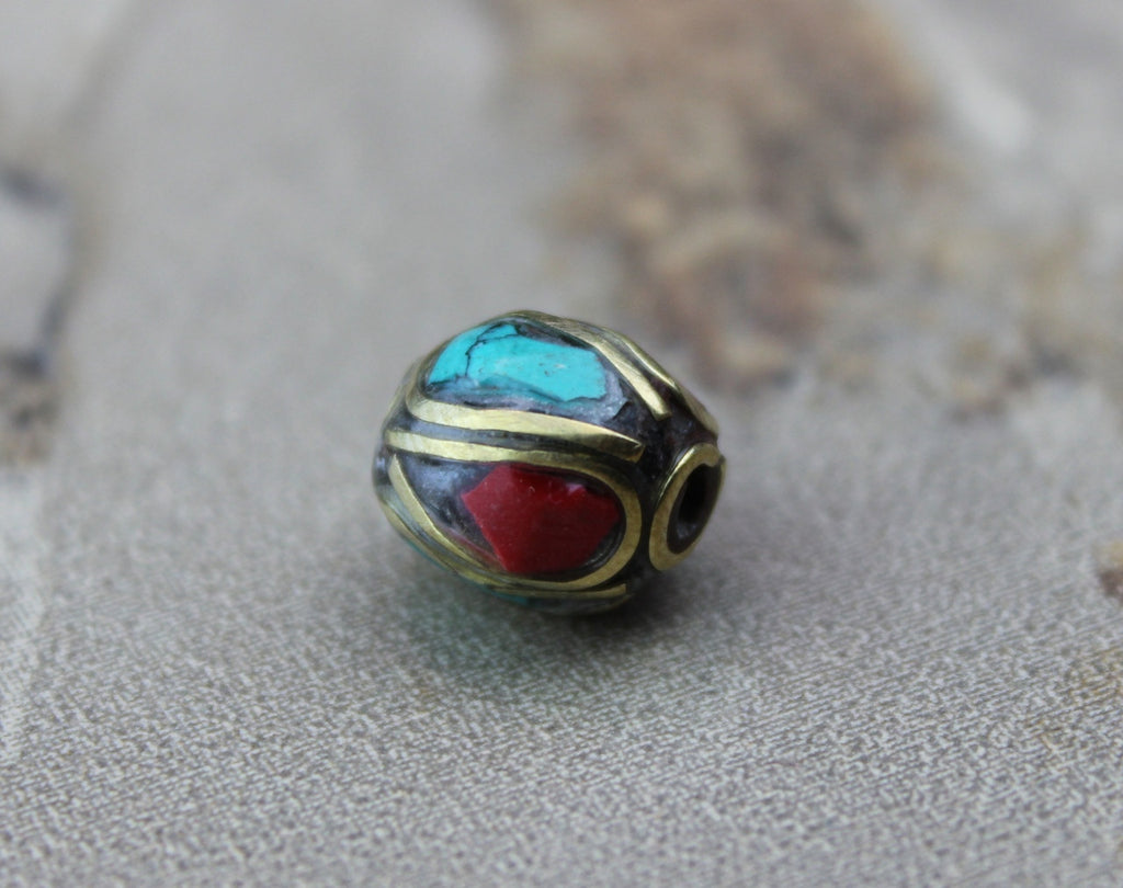 Brass Coral and Turquoise Tibetan Bead 9mm