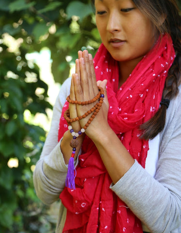 Rudraksha Mala with Amethyst and Rose Quartz