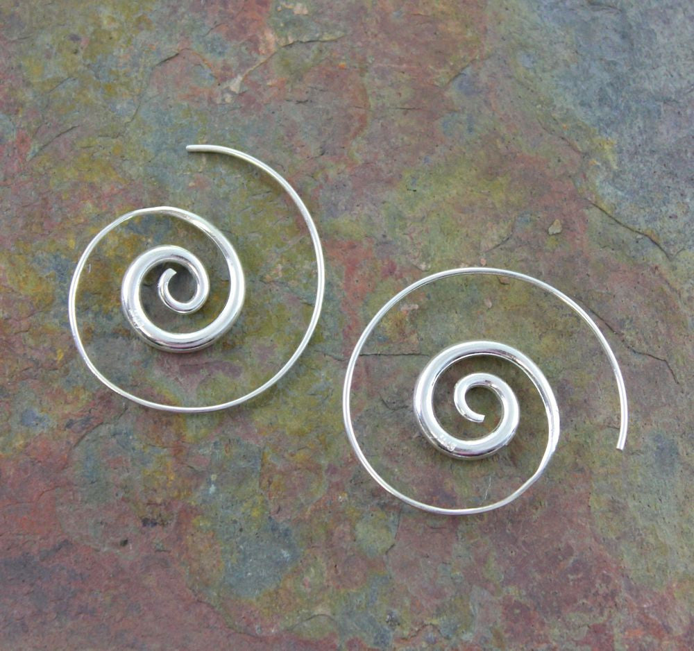 Hill Tribe Silver Spiral Earrings