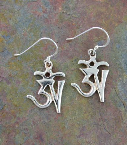 Tibetan Om Earrings Silver