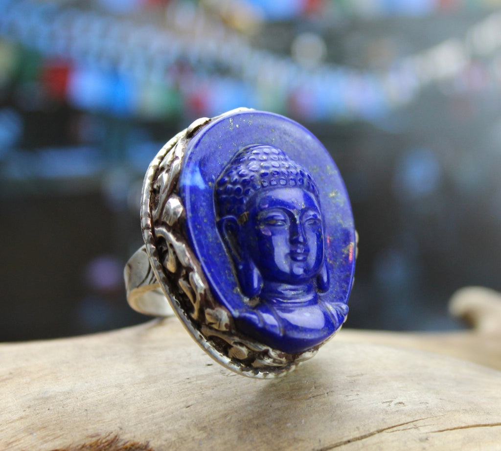 One of a Kind, Hand Carved Lapis Buddha Ring