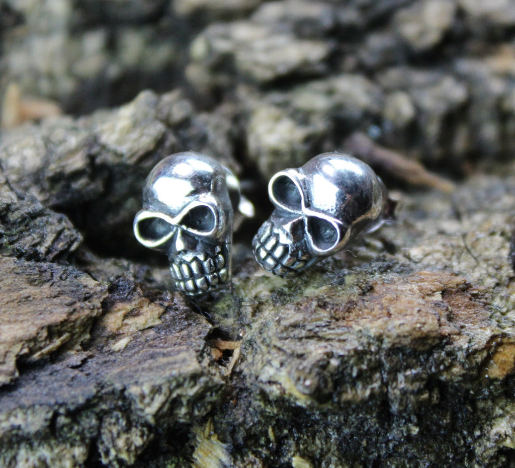 Silver Skull Post Earrings