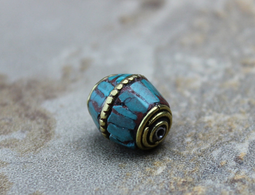 Round Brass, Coral and Turquoise Tibetan Bead 12mm