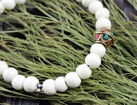 White Bone and Brass Wrist Mala