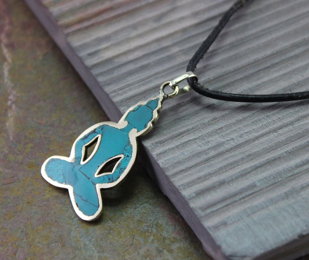 Brass and Turquoise Yoga Pendant