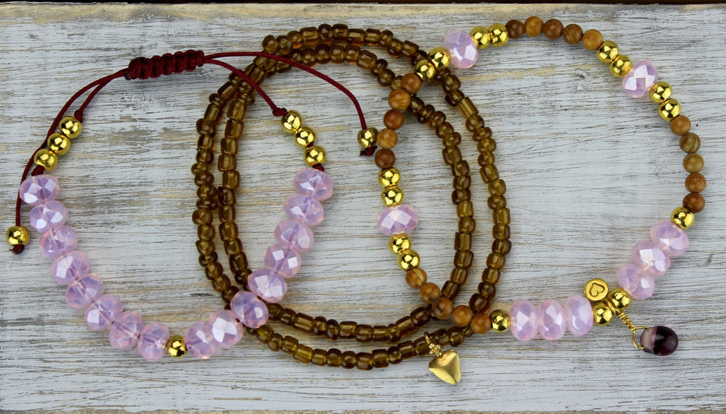 Hearts of Gold Wrist Mala Stack