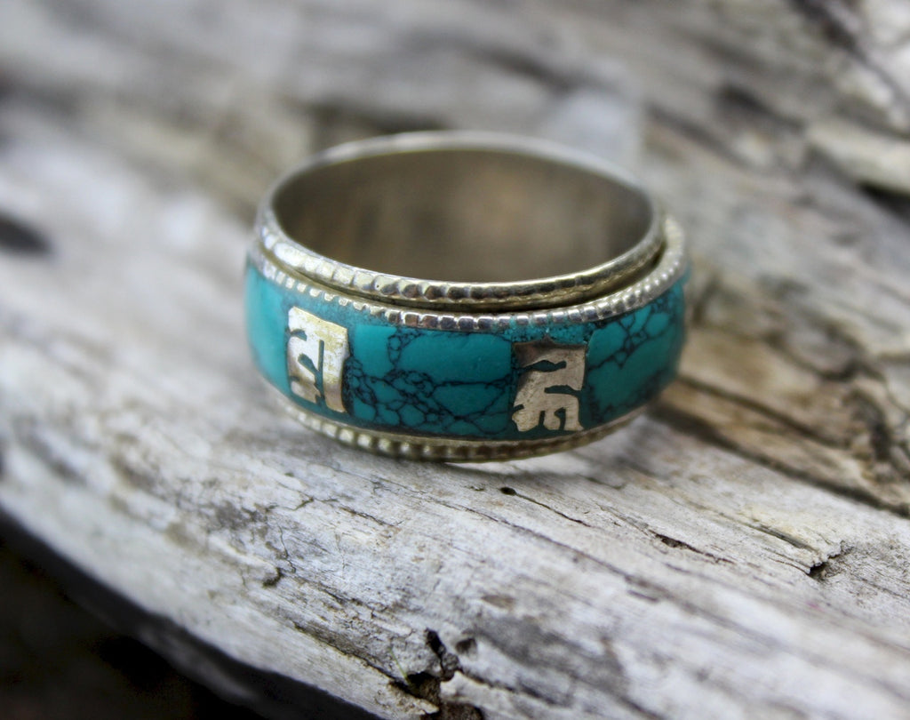 Turquoise Spinning Om Mani Ring
