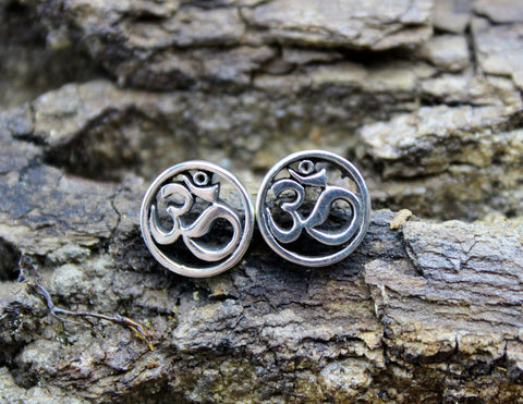 Sterling Silver Round Om Post Earrings