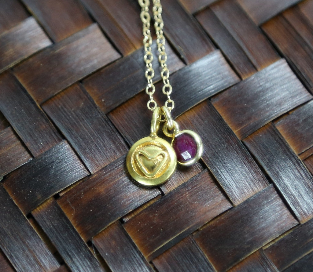 Gold Heart and Ruby Necklace
