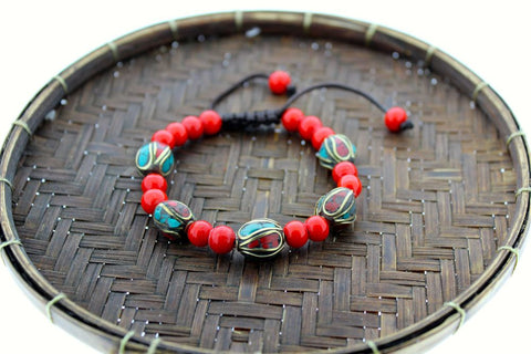 Mountain Jade and Tibetan Bead Adjustable Bracelet