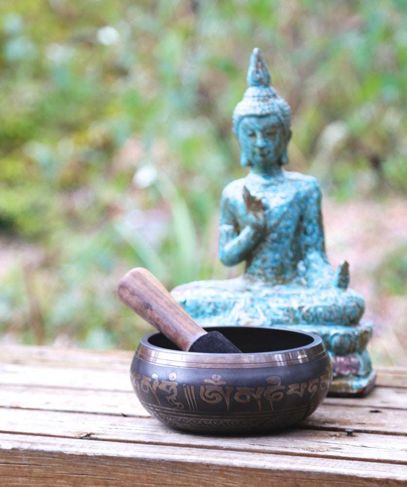 Carved Om Mani Pancha Buddha Singing Bowl