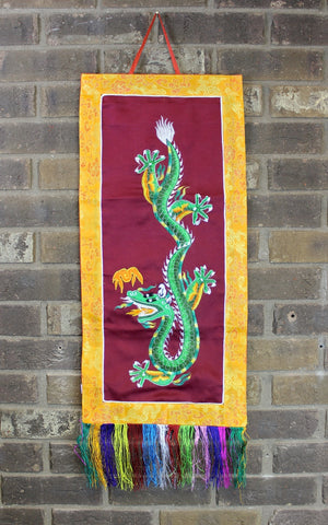 Maroon Dragon Embroidery Wall Hanging