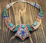 One of a Kind Turquoise and Lapis Necklace