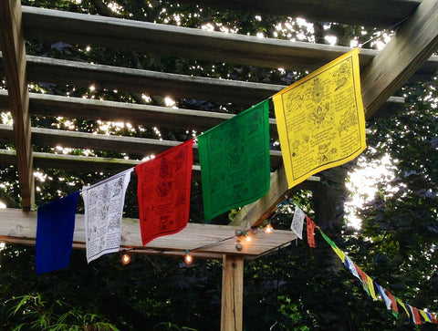 Large Tibetan Windhorse Prayer Flags Set of 5