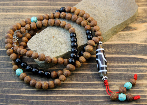 3 Eye Dzi Bead Necklace Onyx and Raktu Seed