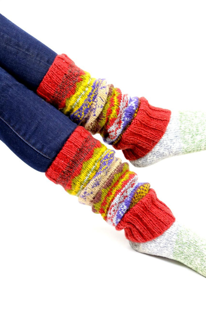 Red/Multi Wool Legwarmers