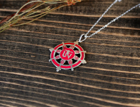 Coral Dharma Wheel OM Necklace