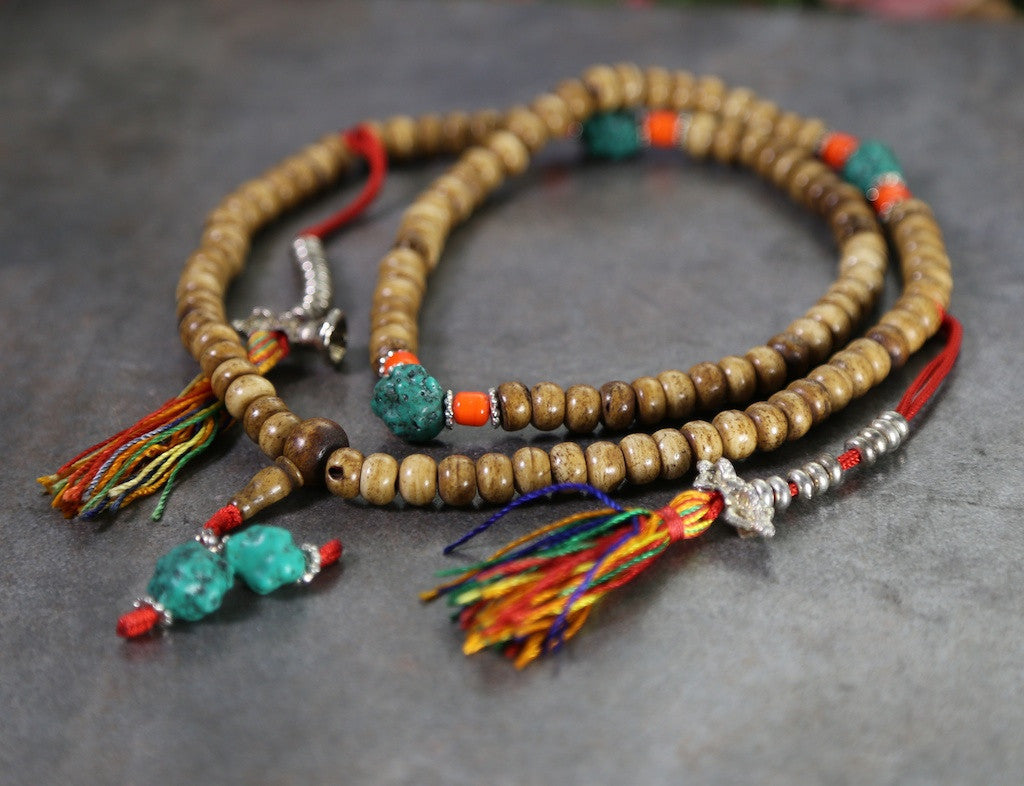 Bone Mala with Turquoise and Coral Beads