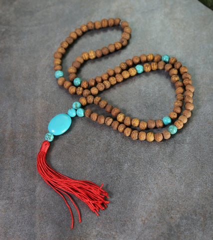 Raktu and Turquoise 108 Bead Mala