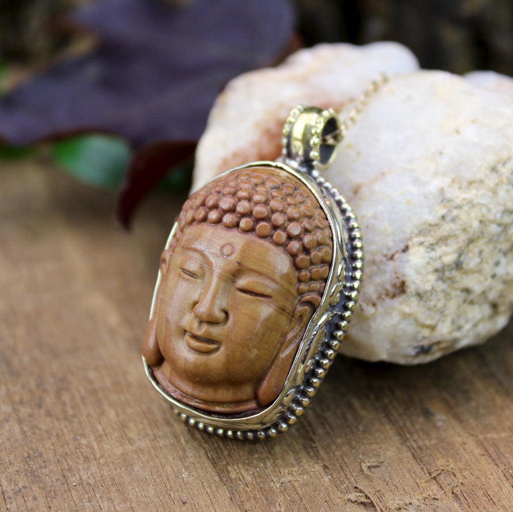 One of a Kind Sunstone Buddha Pendant