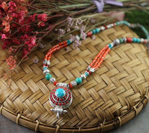 Tibetan Coral Gau Necklace