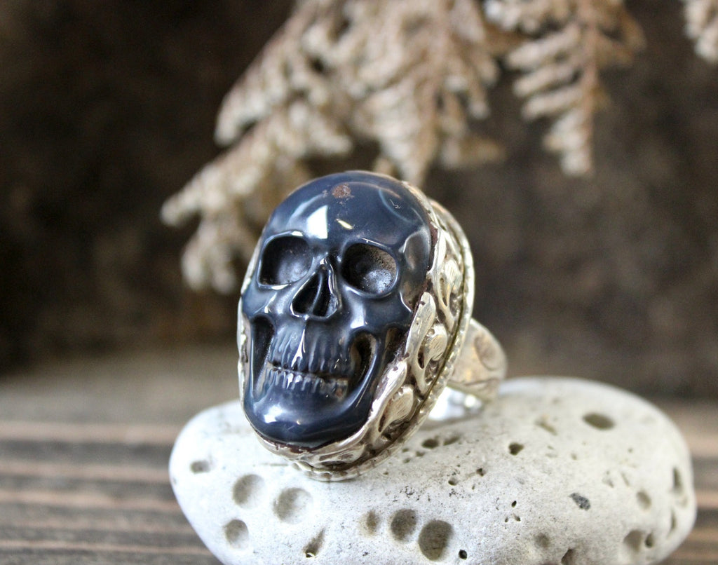 Sterling Silver and Obsidian Skull Ring