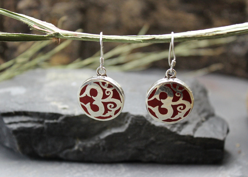 Coral Om Sterling Silver Earrings
