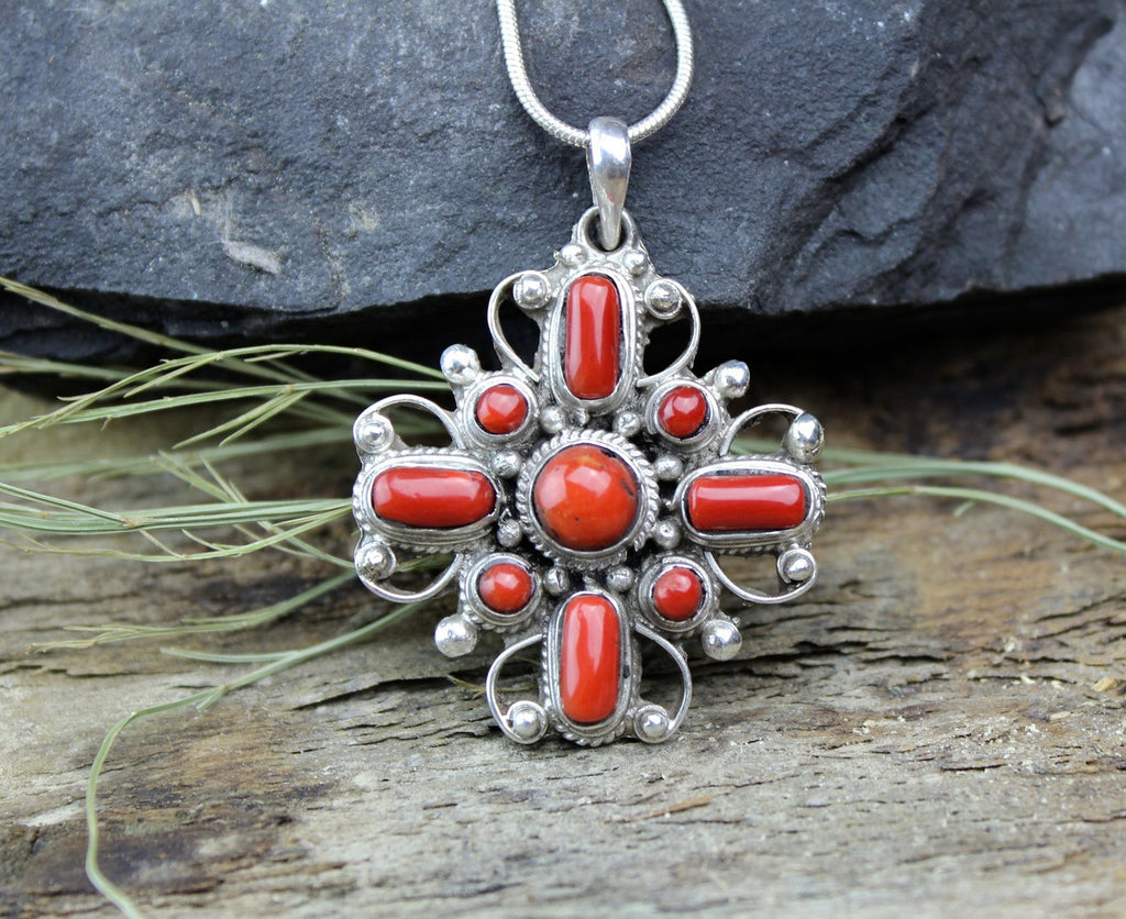 Sterling Silver and Coral Flower Pendant