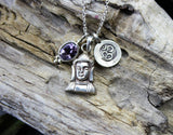 Amethyst and Sterling Buddha Charm Necklace