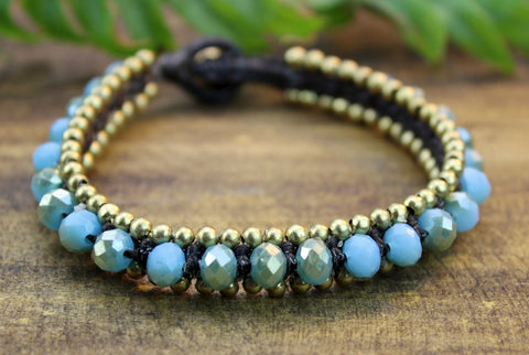 Ocean Blue Glass Bead Bracelet