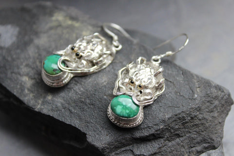 Sterling Silver and Turquoise Garuda Earrings