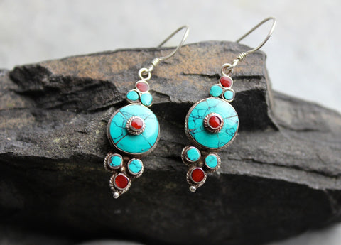 Round Turquoise Flower Drop Earrings