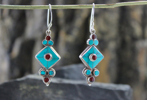 Turquoise and Sterling Silver Flower Drop Earrings